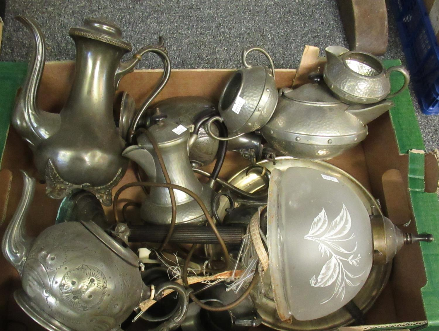 Box of mostly metalware to include; a Sheffield beaten pewter 4 piece coffee and tea set, a plated