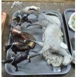 Tray of five china horses: large Beswick dappled grey horse, (detached from base), Beswick dappled