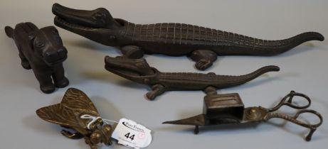 Collection of metalware items to include large crocodile nutcracker, dog nutcracker, brass bee