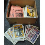 Box containing copies of 'The Magnet' comic and 'The Gem' comic dating from the 1920's onwards,