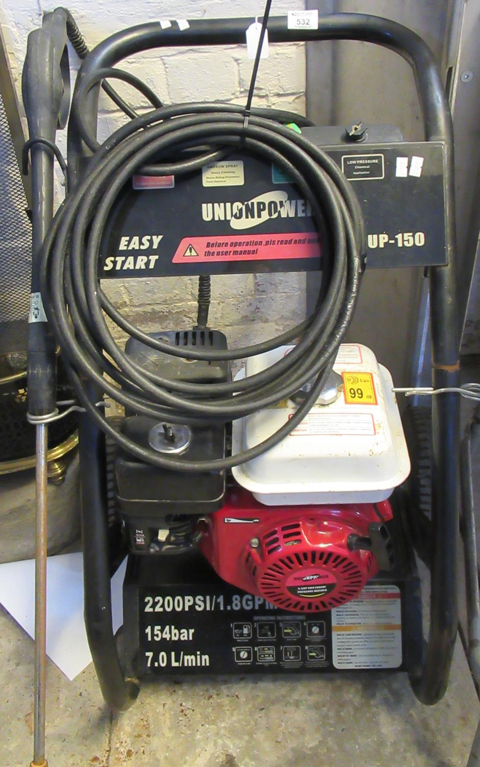 Union Power Easy Start UP-150 petrol or diesel pressure washer. Recently serviced. (B.P. 21% + VAT)