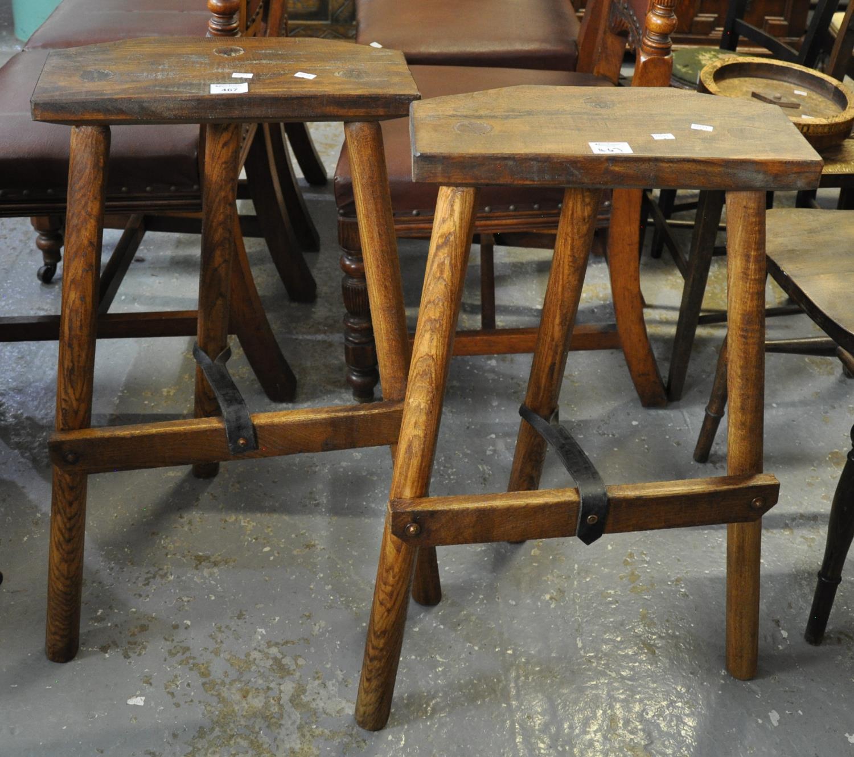 Pair of rustic cutlers type stools. (B.P. 21% + VAT)