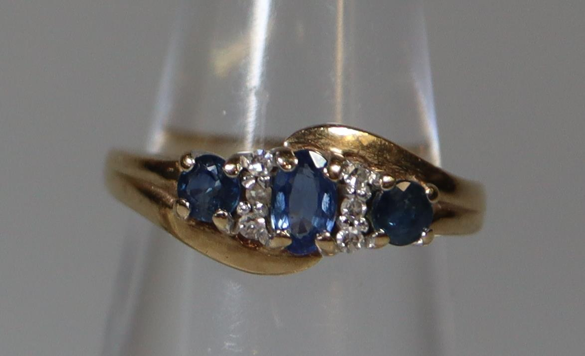 9ct gold sapphire and diamond cluster ring. Ring size H. Approx weight 3 grams. (B.P. 21% + VAT)