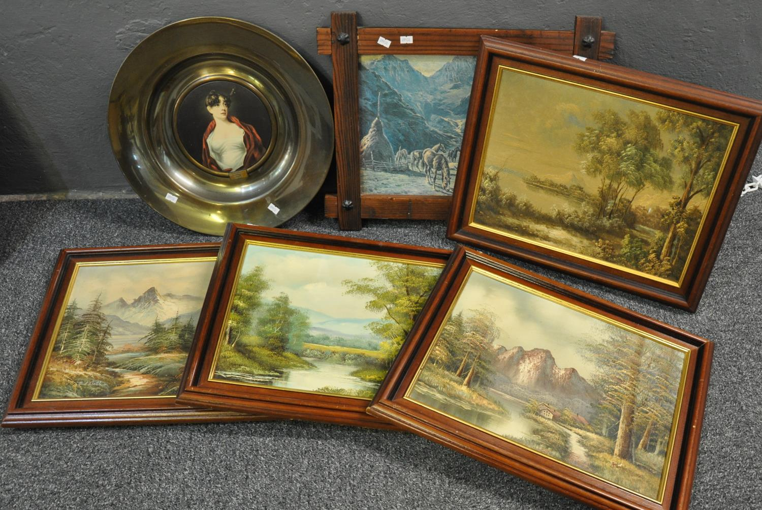 Group of assorted furnishing pictures including; two large landscapes, a pair of Edwardian - Image 2 of 2