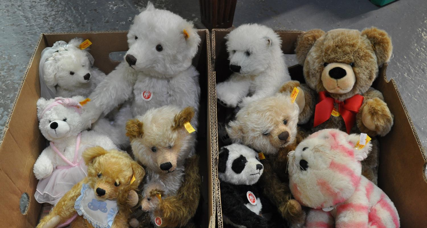 Two boxes of modern Steiff bears to include: Steiff panda, bridal bear, large white classic teddy
