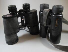 Pair of Minolta Weathermatic 10x42 binoculars, and a pair of Mark Scheffel 30x50 binoculars in