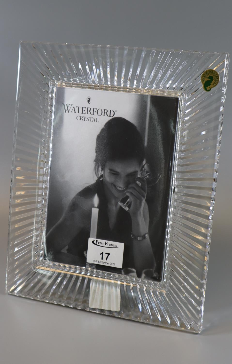 """Waterford crystal 'Somerset' 5"""" x 7"""" easel picture frame in original box. (B.P. 21% + VAT)"""