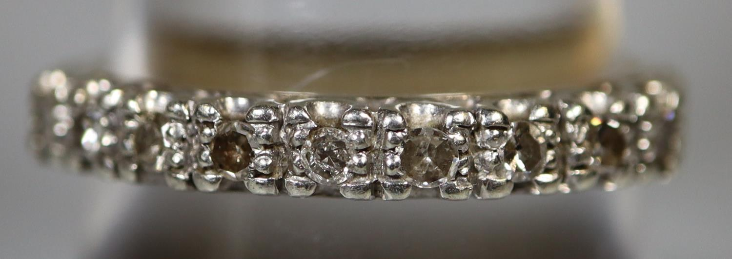 9ct gold and diamond half eternity style ring. Ring size Q. Approx weight 2.8 grams. (B.P. 21% + - Image 2 of 3