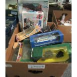 Box of diecast model vehicles, mainly in original boxes to include; Corgi Superhaulers transit
