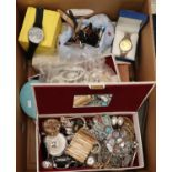 Box of assorted items to include various wrist watches, costume jewellery brooches, jewellery