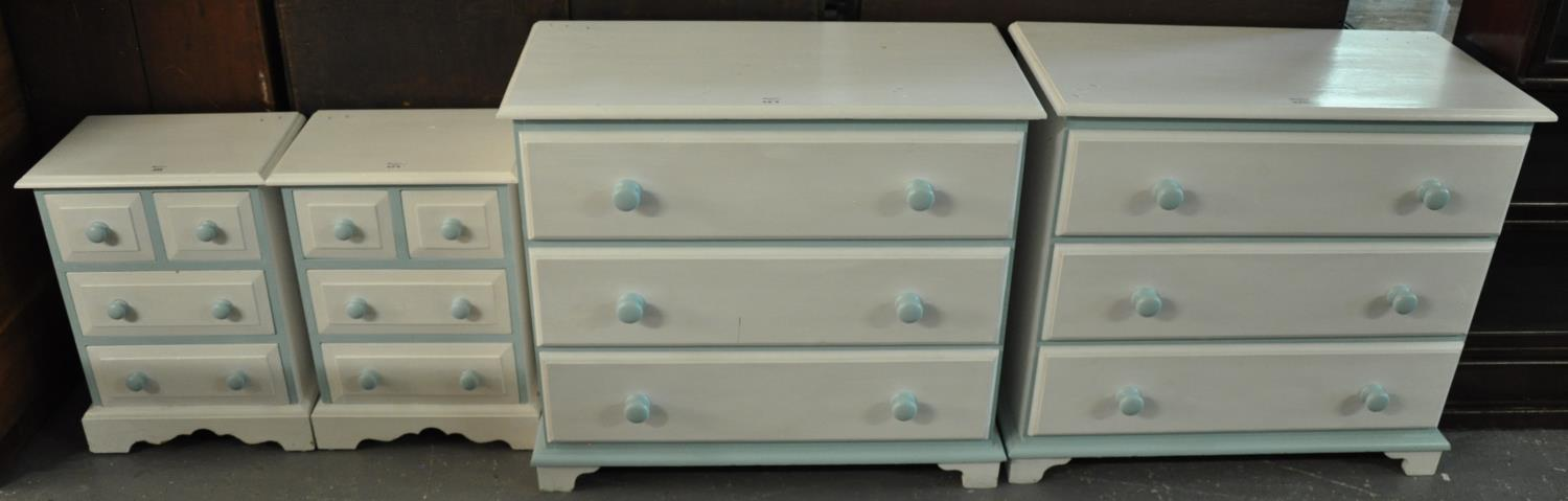 Collection of matching painted pine bedroom furniture items to include; a pair of three drawer