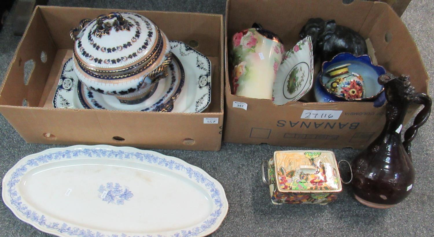 Two trays of mainly china to include; large soup tureen and stand, large blue and white fish