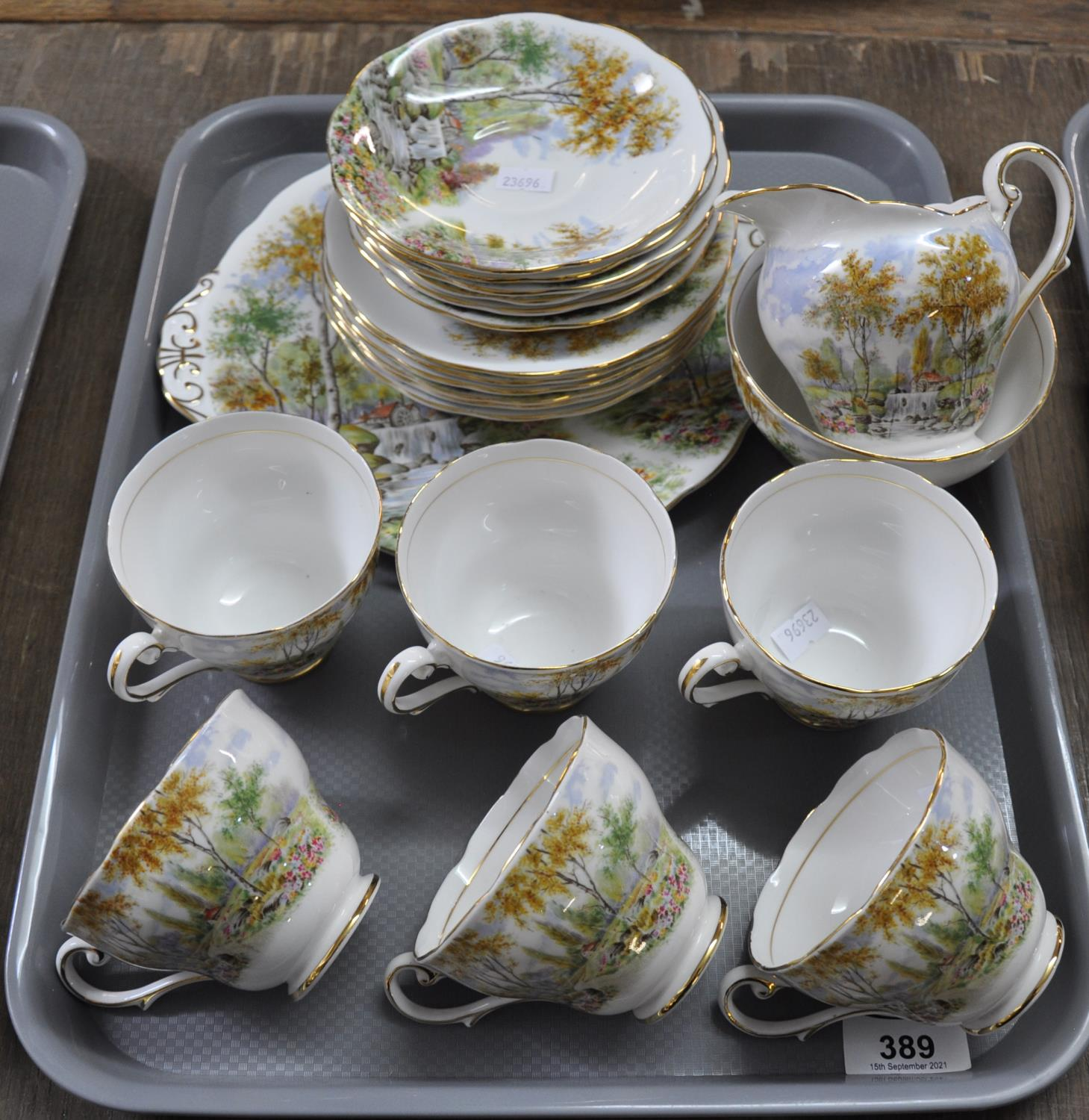 Tray of Royal Standard 'The Old Mill Stream' part teaware to include: six cups and saucers, six side