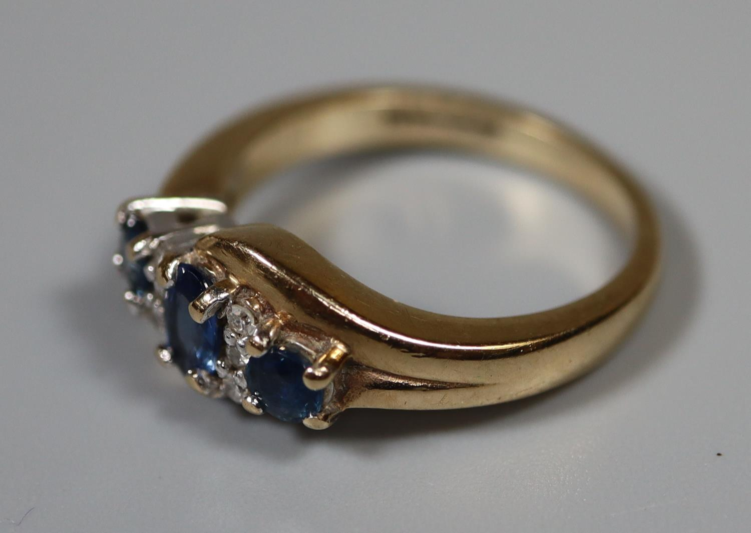 9ct gold sapphire and diamond cluster ring. Ring size H. Approx weight 3 grams. (B.P. 21% + VAT) - Image 3 of 3