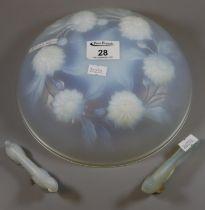 Etling Art Deco design opalescent glass dish with moulded floral decoration. 22cm diameter approx.