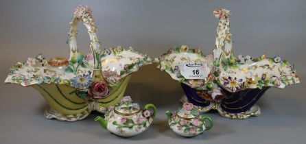 Two Coalport floral encrusted yellow and cobalt blue ground shell single handled baskets, hand