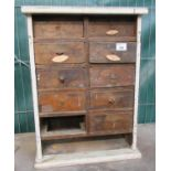 Vintage table top miniature carpenters chest of drawers, two drawers missing. (B.P. 21% + VAT)
