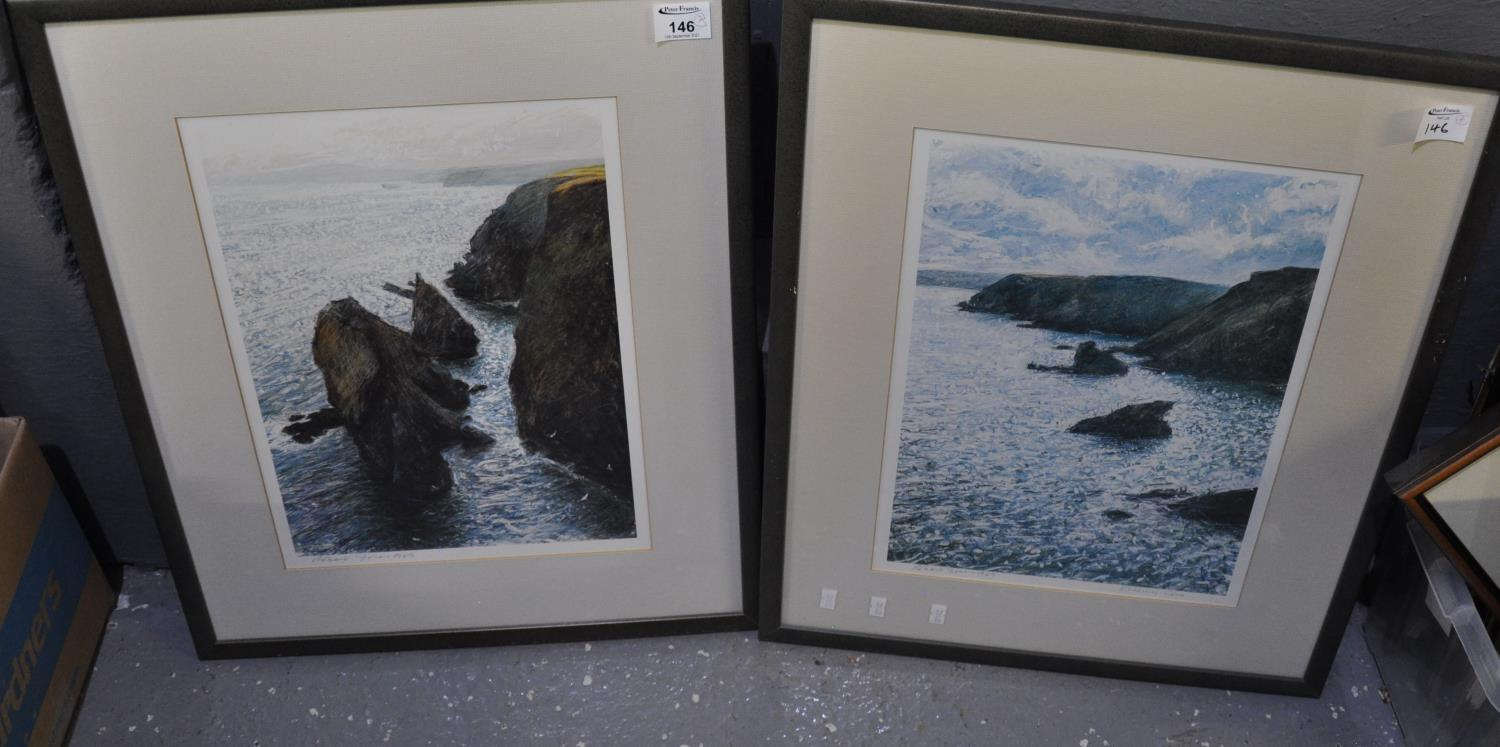 After Robert Jones, fishing cove and another coastal study, coloured prints, signed and dated 1989