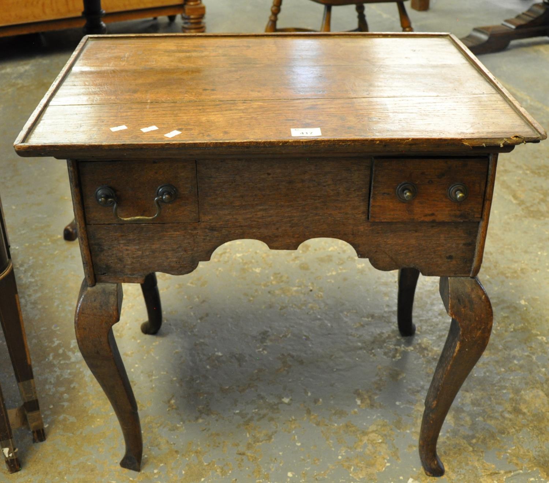 18th century oak tray top low boy on cabriole legs and hoof feet. (B.P. 21% + VAT)
