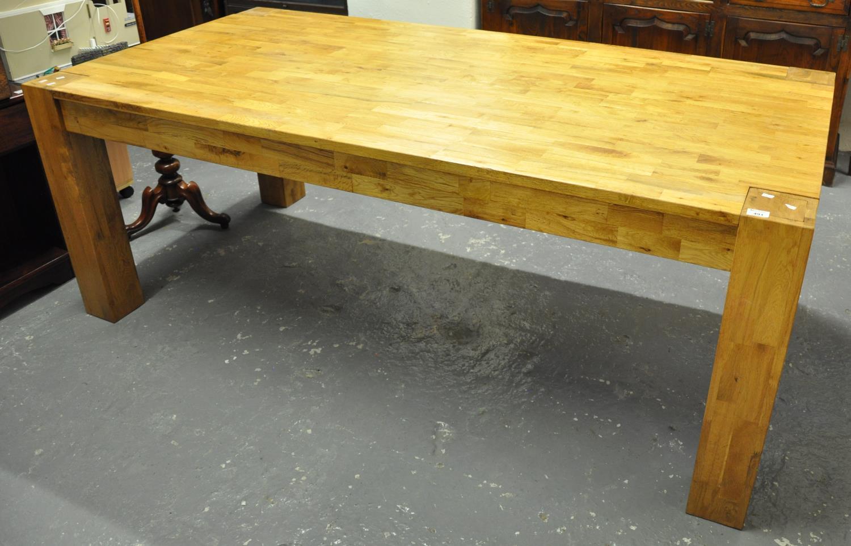 Modern oak dining table on square legs. 102 x 202cm approx. (B.P. 21% + VAT)