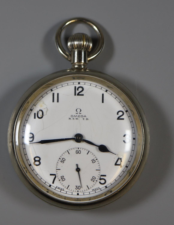 Omega white metal open faced pocket watch. Back is marked L8996. (B.P. 21% + VAT)