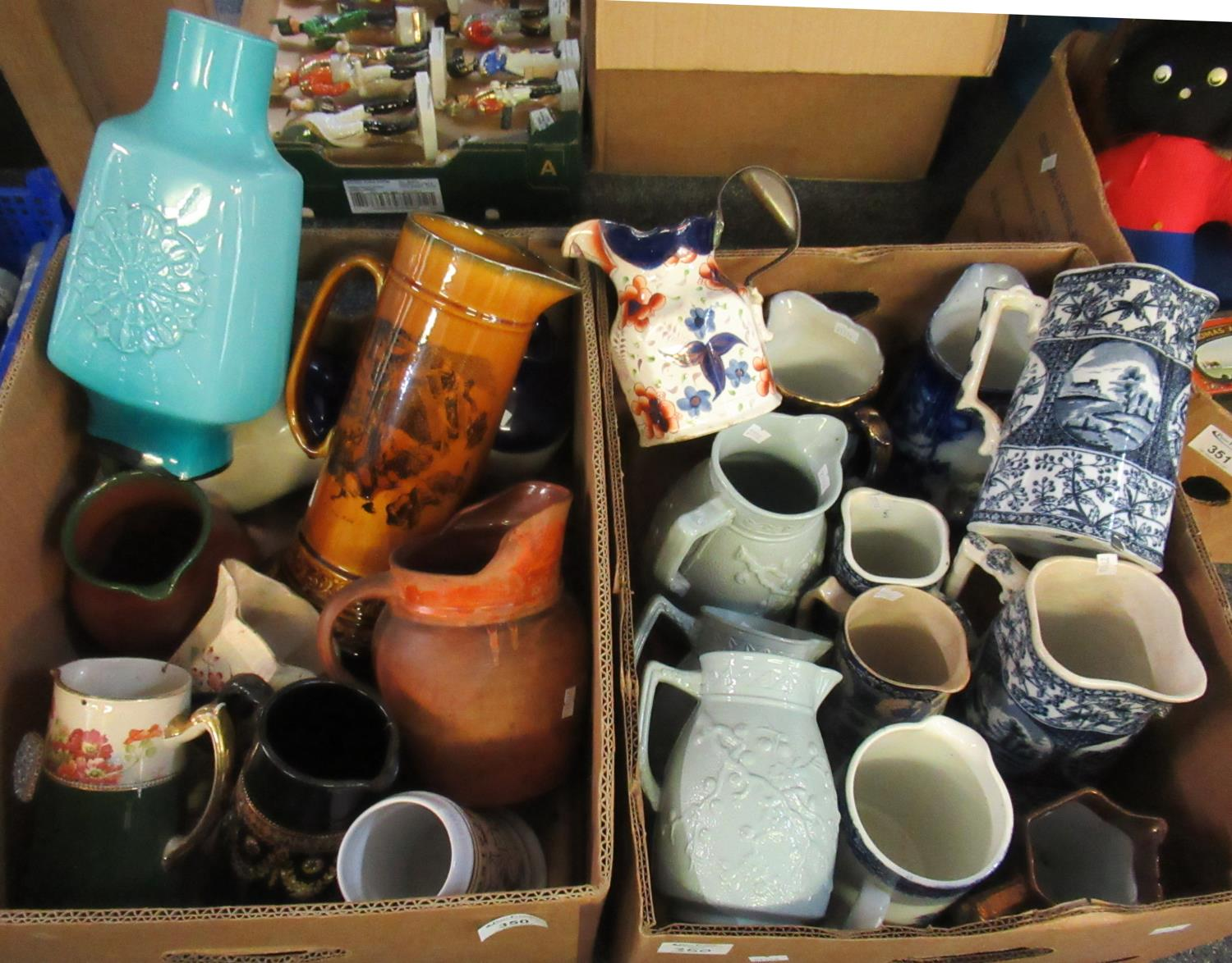 Two boxes of assorted mainly china to include; various dresser jugs, lustre, blue and white willow