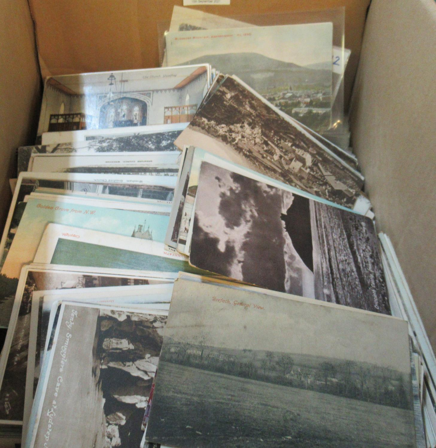 Postcards - large collection of Welsh cards in box, early to 1950's. About 3500 postcards covering