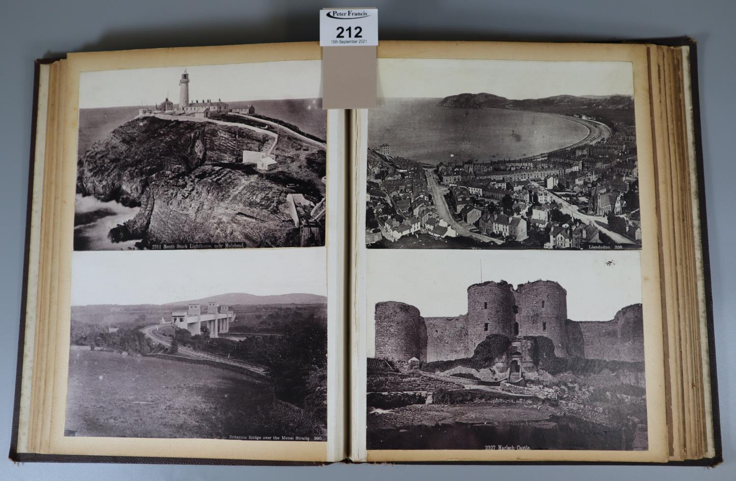Victorian album containing assorted photographs, architectural and topographical including