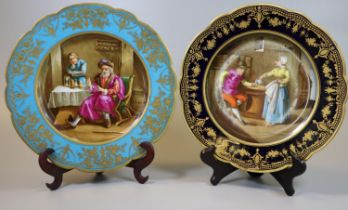 Two similar Sevres porcelain cabinet plates with turquoise and black borders, gilt decoration, the