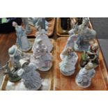 Two trays of largely Royal Worcester and Coalport figurines, including a collection of the