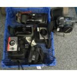 Box of assorted cameras and optical equipment to include; a Polaroid Colorpack 80 land camera with