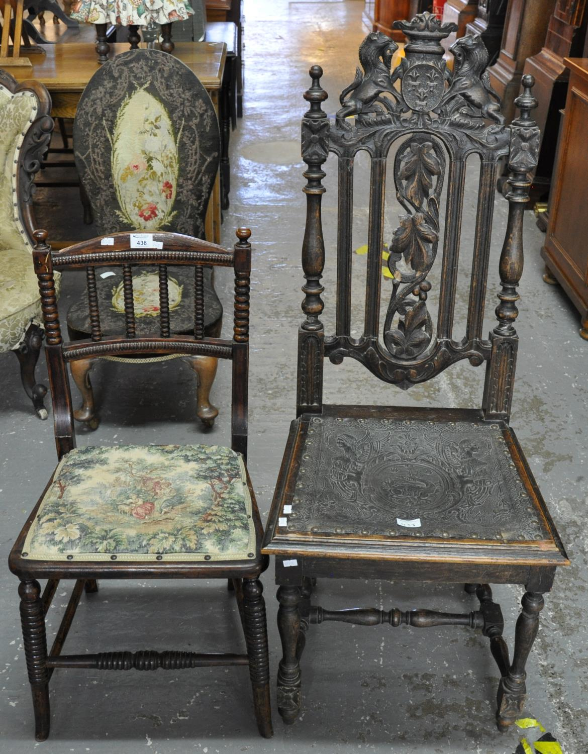 Edwardian stained bobbin back bedroom chair, together with a late Victorian carved oak hall hair
