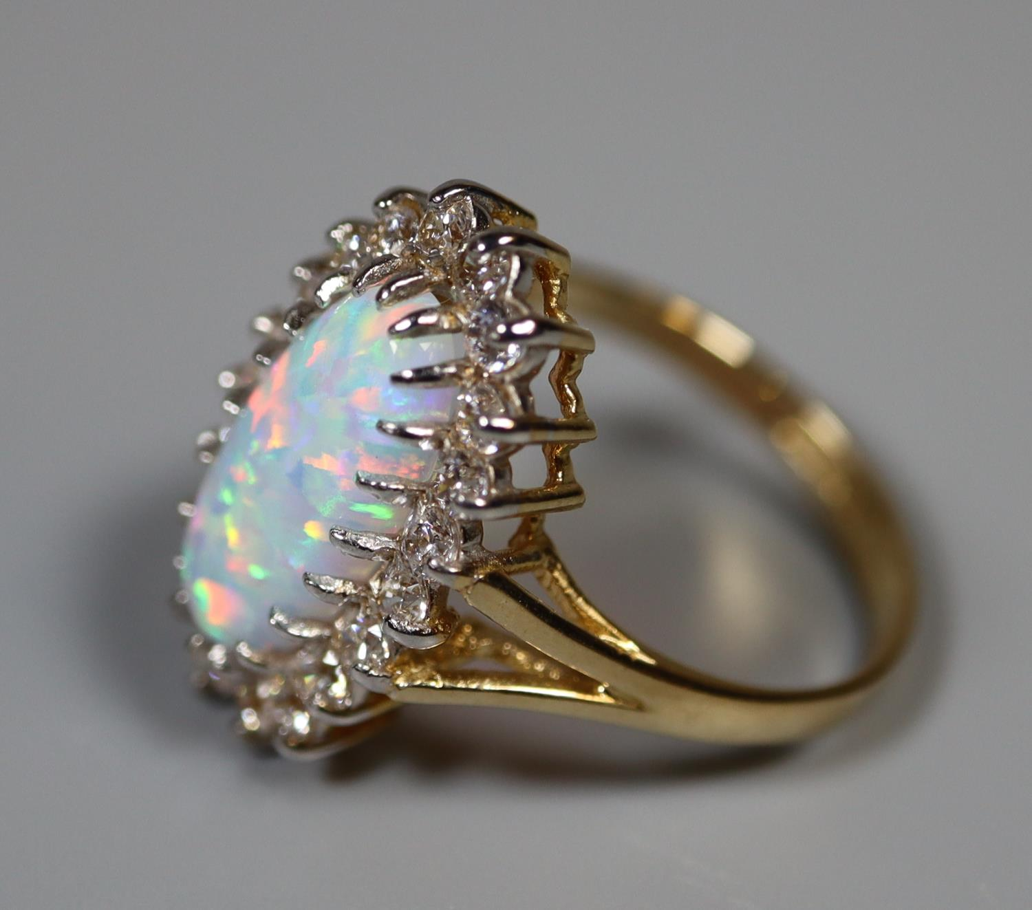 9ct gold synthetic opal and white stone ring. Ring size L. Weight approx 3.2 grams. (B.P. 21% + VAT) - Image 3 of 3