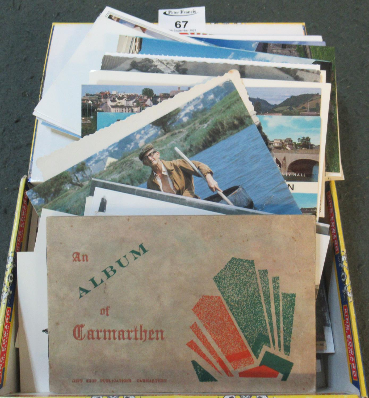 Postcards, selection of modern Carmarthen cards in cigar box. 120+ cards. (B.P. 21% + VAT)