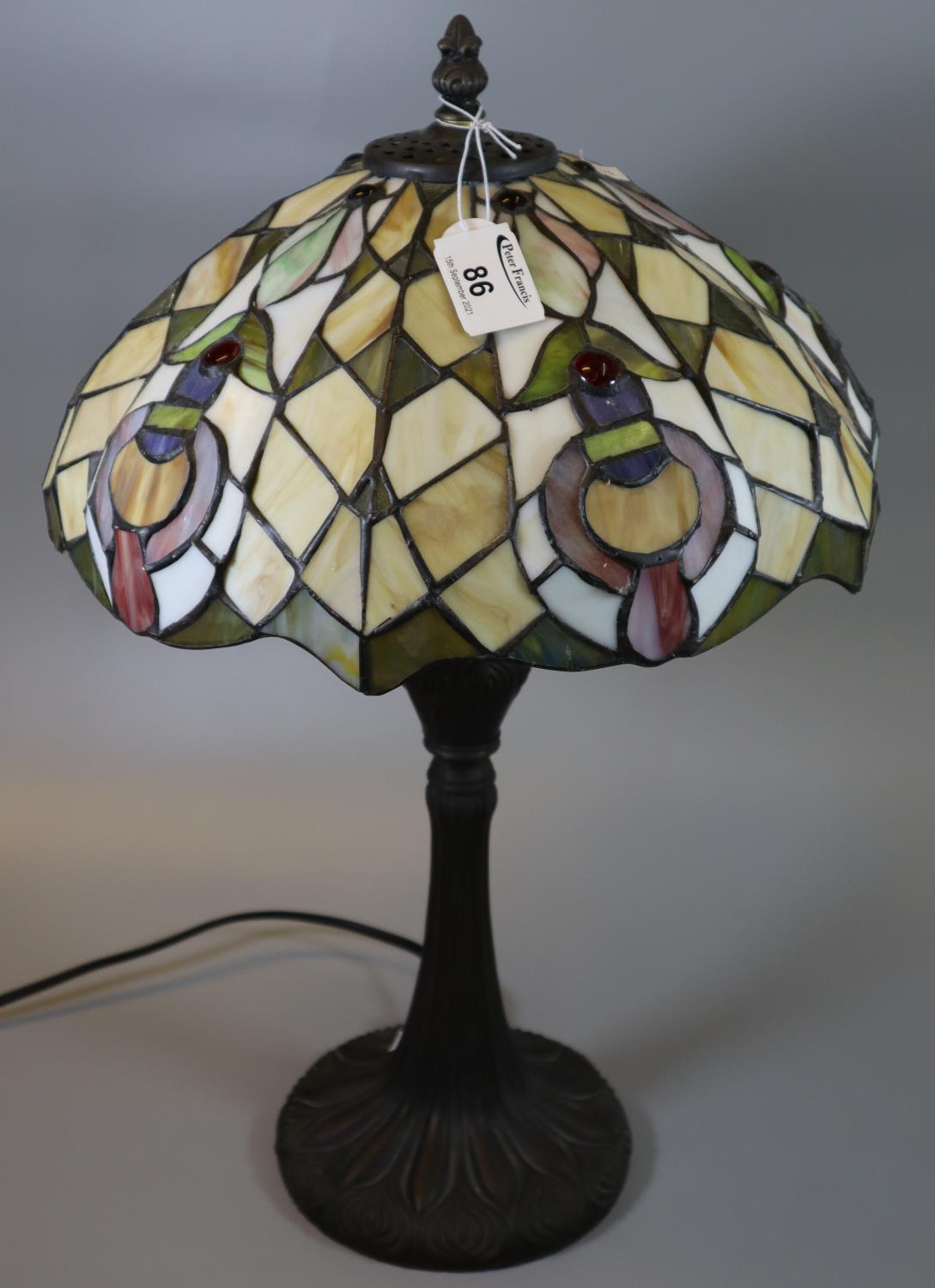 Modern Tiffany style lead glazed table lamp and shade. 48cm high approx. (B.P. 21% + VAT)