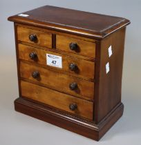 19th century miniature apprentice piece type mahogany straight fronted chest with two short and