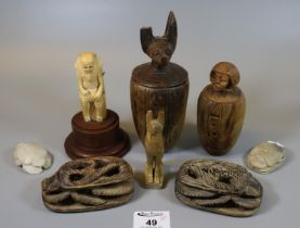 Group of modern tourist type Egyptian style creatures and objects including scarab beetle,