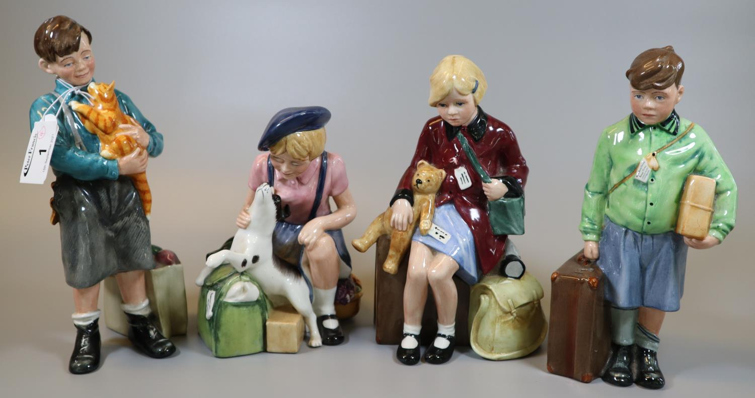Four Royal Doulton bone china figurines to include; 'The Boy and Girl Evacuee' and Boy and Girl