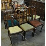 A collection of dining and bedroom chairs to include; Queen Anne style, lyre and splat back