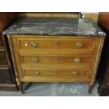 French design probably satin wood marble top straight front chest of three drawers on tapering legs.