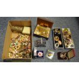 Box containing assorted costume jewellery, watches, etc. (B.P. 21% + VAT)