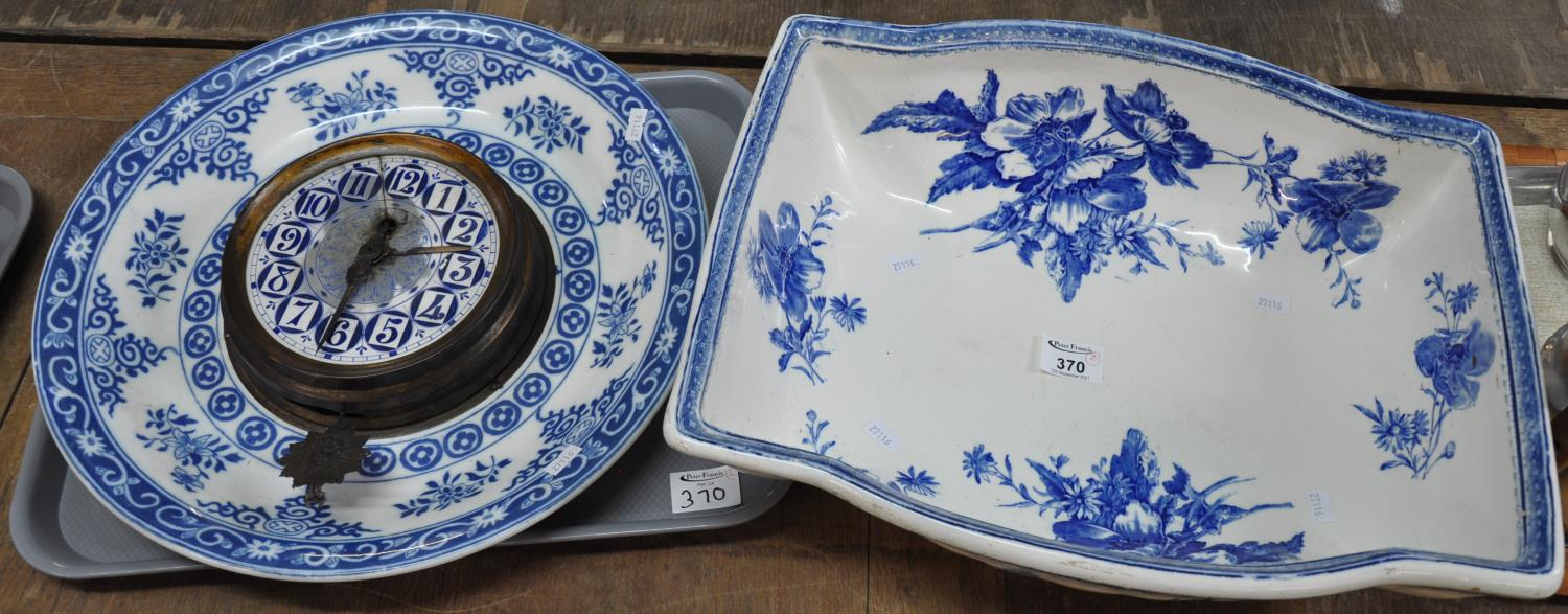 A large 19th Century blue and white 'Anemone' pattern wash bowl of unusual oblong form, marked C & S