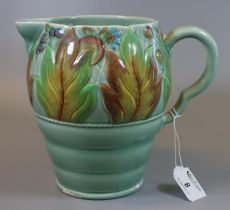 Mid Century Clarice Cliff for Newport Pottery Art Deco style jug in the Celtic leaf and berry