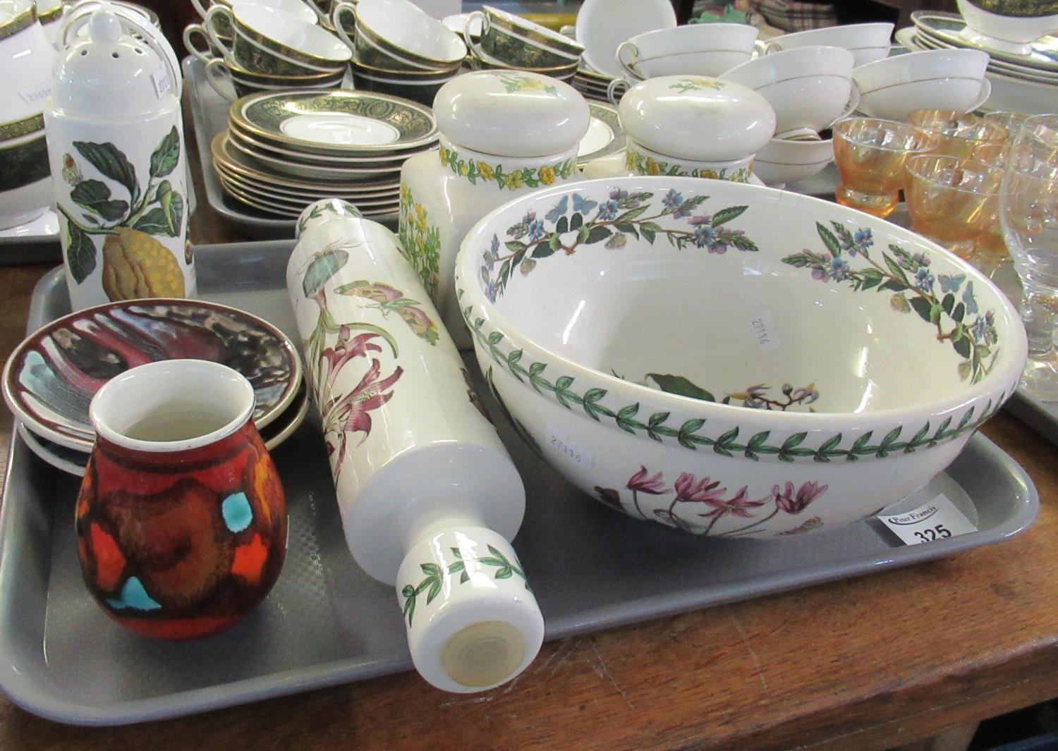 Tray of assorted china to include; Portmeirion Pottery mixing bowl, rolling pin and sugar caster,
