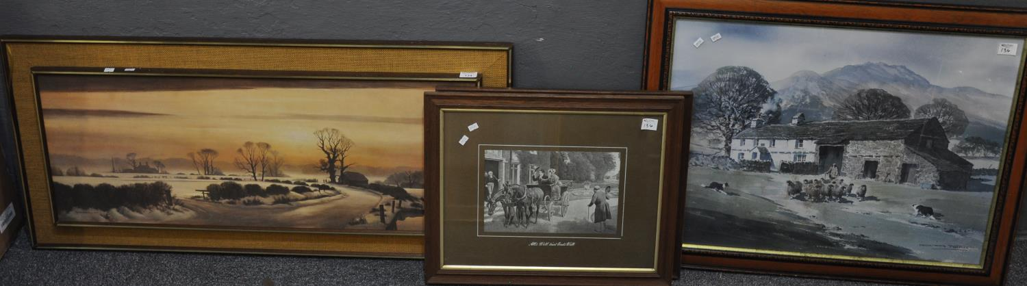Group of assorted furnishing pictures including; two large landscapes, a pair of Edwardian