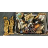 Box of assorted items to include; oriental figures, spice grinder, Greek style figure, ceramic