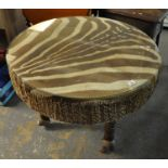 African zebra skin drum or drum table with glass top. (B.P. 21% + VAT)
