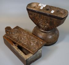 Treen :carved wooden collection box with opening lid revealing two compartments to the interior,