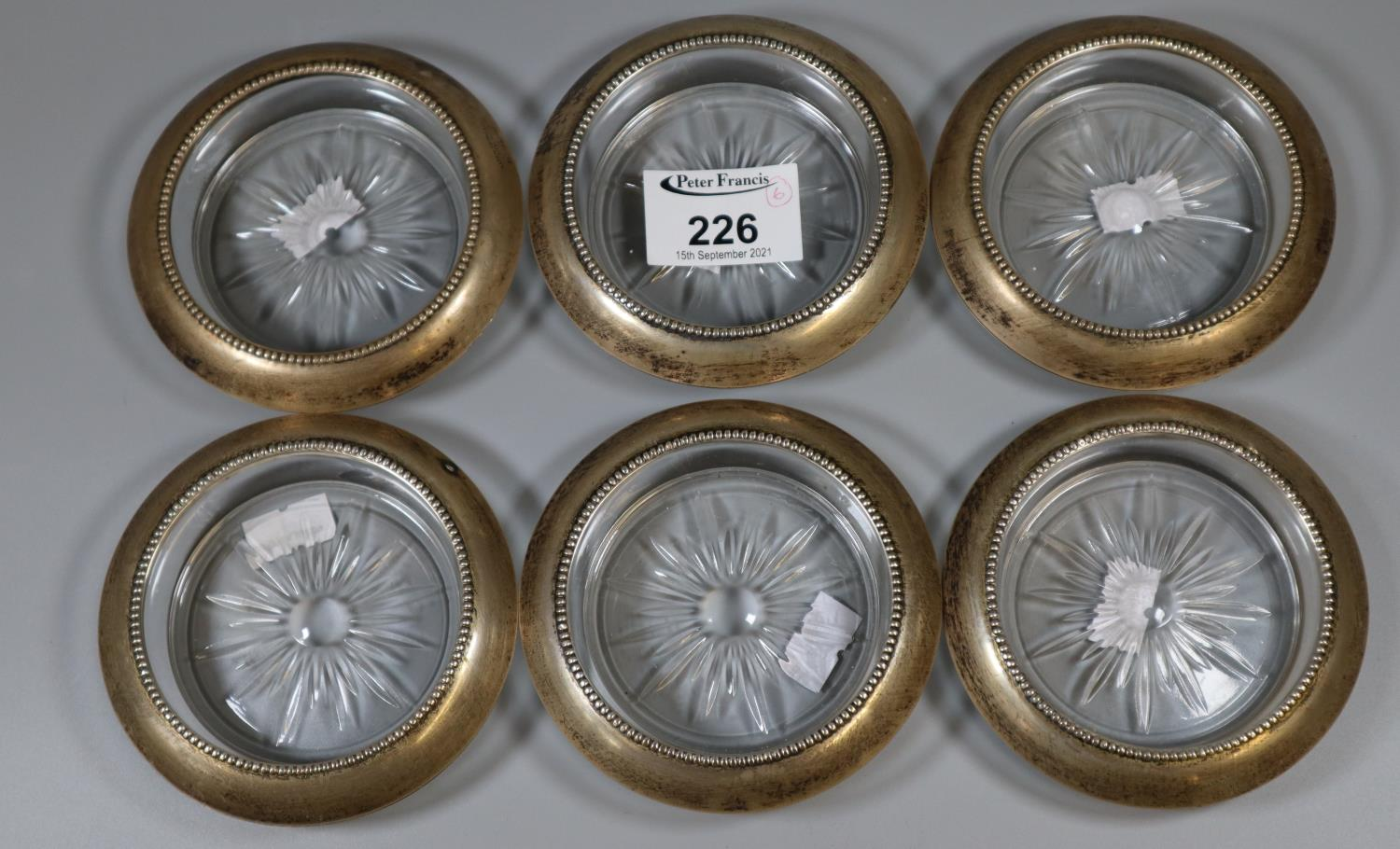Set of six silver and glass coasters by Frank M Whiting & co. sterling 04. (6) (B.P. 21% + VAT)