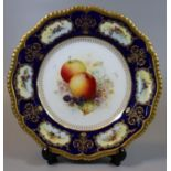 Royal Worcester porcelain cabinet plate hand painted with fruits and foliage with cobalt blue border